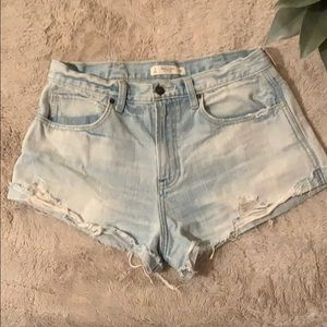 Distressed high waisted boyfriend shorts